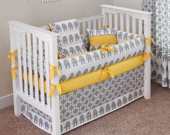 Elephants Crib Bedding Set (choose trim color) - by Sofia Bedding