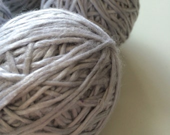 Super soft banana and cotton single ply handspun yarn. Full lustre, balled, pearly sheen, ethical yarn, knitting yarn, crochet yarn. 100g.