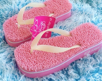 90's Sugar Deadstock Astro Turf Pink Platform Foam Wedge Thong Sandals // 8