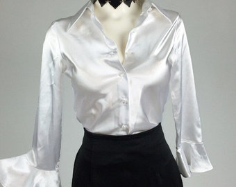 90's Schoolgirl Button Up Silky Blouse with Bell Sleeves // S