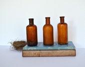 Vintage Medicine Bottles Amber Apothecary Bottles  (set of 3)