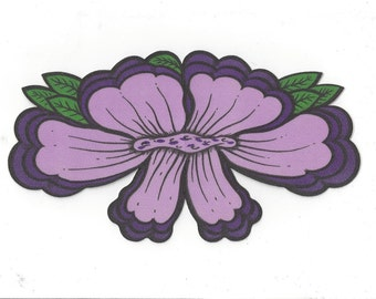 Large Vintage Purple Flower Decal, 1980s