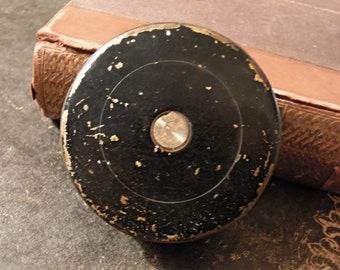 Vintage / Antique Black Small Rouns Tin / Tiny Canister / Patina Plus / Urban Industrial / Farmhouse Chic / Black and gold