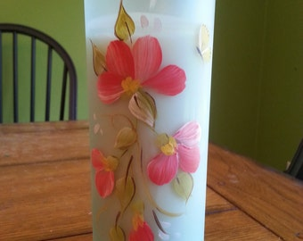 Recycled Wine Bottle Glass Candle - Pink Flowers & Butterfly