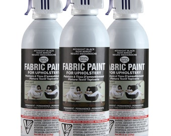 Simply Spray Upholstery Fabric Spray Paint - Dries Soft, Permanent - BLACK - 3 PACK
