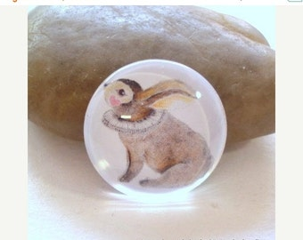 SALE 20% Off - 4pcs 25mm Rabbit Handmade Glass Photo Cabochon PC390-25