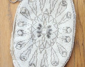 Vintage 20's White and Silver Beaded Zipper Pouch, made in Czechoslovakia