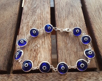 Glass Evil Eye Bracelet - Dark Blue