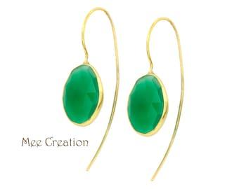 EE6040007) Green Onyx Earrings, Green Onyx Checkerboard Earrings, Green Earrings, Green Onyx Drop Earrings, Quartz Earrings, Bohemian Earrin