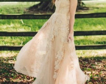 Reem Acra Blush Wedding Dress For Sale- Made to Order