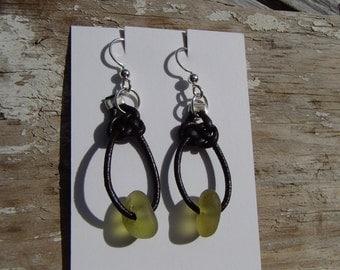 Celtic Knots Citron Sea Glass & Leather Earrings (S18)