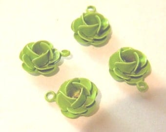 Four Vintage green 1970s Metal Rose or Petite Cabbage flower charms