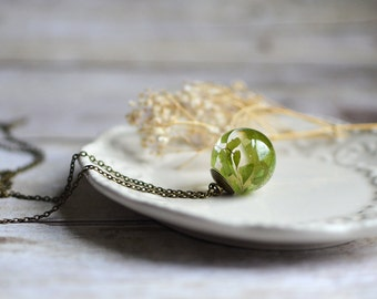 Fern necklace maidenhair fern resin jewelry pressed leaf/ terrarium jewelry / nature inspired, nature lover gift