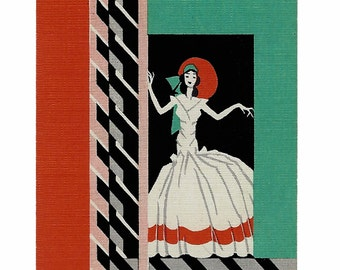 Art Deco PARTY-GOER (1) Vintage Single Swap Playing Cards Paper Ephemera Scrapbook