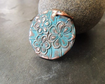 Large Copper Pendant, Flower Pattern, Green Patina, Verdigris, Handmade Copper Metal Clay Pendant, 16 Gauge Copper Ring, Artisan Handmade