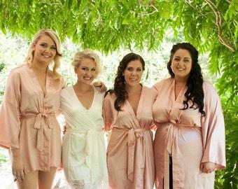 Bridesmaid Robes Blush Pink robes bridesmaid gifts dressing gowns personalized silk robe kimono robes satin robe bridal robes maid of honor