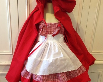 Little Red Riding Hood Boutique Knot Dress Costume EMBROIDERED Size 2T 3T 4T 5 6 NEW