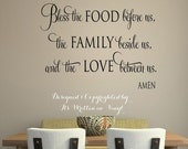 15% OFF Bless the food before us   faith-Vinyl Lettering wall words graphics Home decor itswritteninvinyl