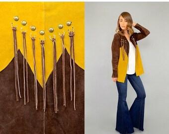 ANNIVERSARY SALE 70's Suede PATCHWORK Fringe Jacket