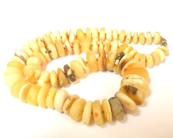 "Baltic Amber Necklace Raw Unpolished Butterscotch Beads Natural Untreated 22.4"" 67.6 gram"