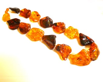"Baltic Amber Necklace Chunky Multicolor Beads Natural Large 22.4"" 116.6 gram"