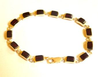 "Baltic Amber Chain Bracelet Cherry 7"" 925 Silver 9.2 gram"