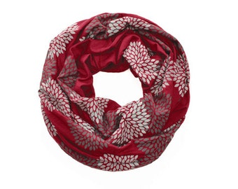 INFINITY SCARF - Screen Printed - Gray Double Flowers on Ruby