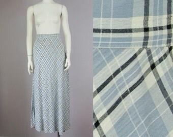 "80s Vintage Bias Cut Plaid High-Waist Maxi Skirt (M; 28"" Waist)"