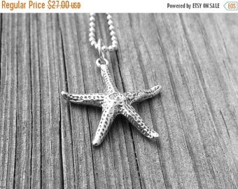 On Sale Starfish Necklace, Sterling Silver Starfish Necklace, Starfish Pendant, Starfish Jewelry, Charm Necklace, Sterling Silver Jewelry