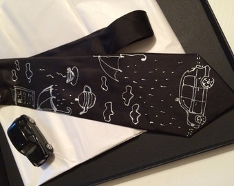 "Hand painted 100% silk tie  ""London black mood""- Free shipping to UK"