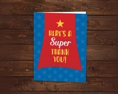 10 Superhero Thank you Cards -- Folded Thank you Cards for Baby Shower or Birthday