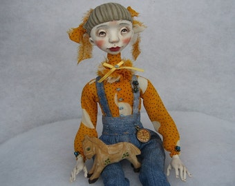 Art doll Petra OOAK doll Human figure doll Air dry clay doll Collecting doll Art clay doll Art clay doll Paper clay doll