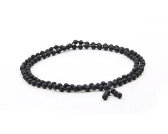 Tibetan 108 8mm Volcano Stone Knot Buddhist Prayer Beads Mala Necklace  ZZ416