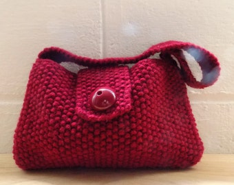 Hand Knitted Bag, Small Red Evening Bag