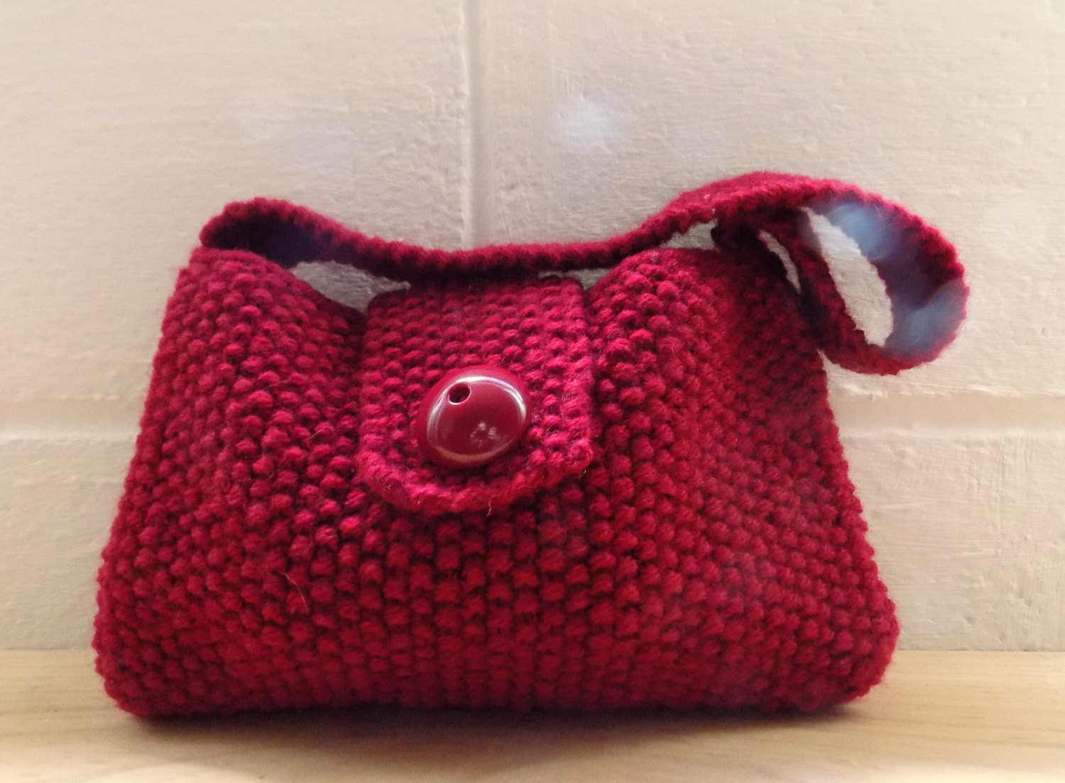 Knitting Pattern Evening Bag : Hand Knitted Bag Small Red Evening Bag