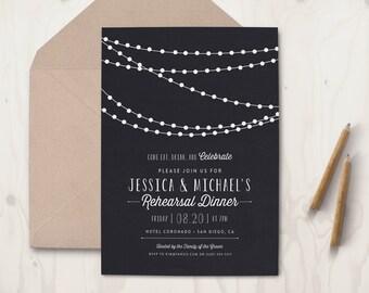 Rehearsal Dinner Invitation - String Lights - Black Card - White Ink