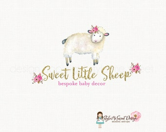 sheep logo design watercolor logo flower logo design gold glitter logo photography logo woodland logo premade logo design bespoke logo