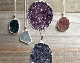 "Large Druzy Necklace Drusy Quartz Sterling Silver 32"" Chain"