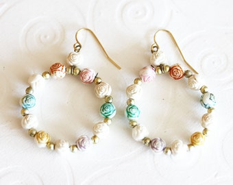 Vintage Flower Earrings Flower Hoop  Earrings Flower Hanging Earrings