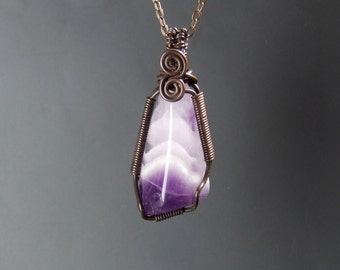 Chevron amethyst necklace, february birthstone jewelry, rustic copper necklace, healing gemstone pendant