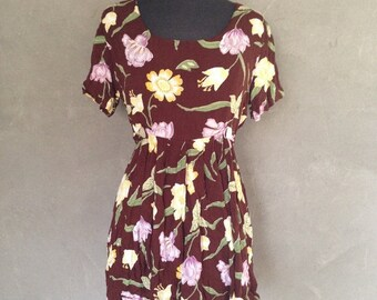 70% OFF Vintage 1990s Brown Floral Rayon Mini Babydoll Baby Doll Dress Tunic Bailey B M (g)