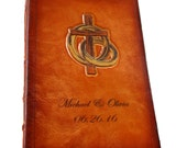 Personalized Leather Wedding or Anniversary Bible, Cross and Wedding Bands