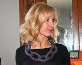 Felted Wool Link Necklace, Purple, Flecked with Multiple Colors