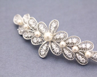 Vintage Inspired Wedding barrette,Bridal hair accessory,Bridal hair comb,Wedding hair accessory,Bridal barrette,Wedding hair clip,bridal
