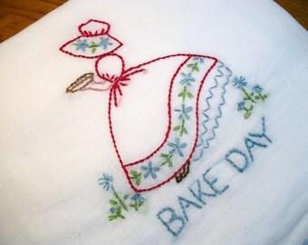 Dish (Tea) Towel with Sun Bonnet Sue Design Hand Embroidery Flour Sack Dish Towel Bake Day