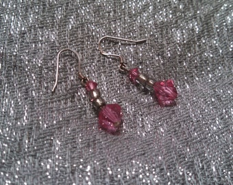 Pink Crystal Earrings with Silver 925 Hooks