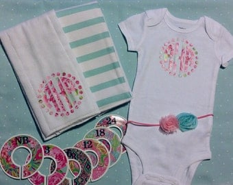 Lilly inspired Monogrammed Set, Lilly P Monogram Creeper, Lilly Closet Organizers, Lilly Burp Cloths, matching headband, Lilly onesie