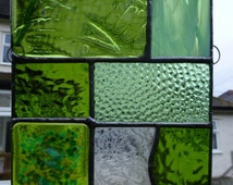 Stained and fused Glass Green Fern Woodland Glade Panel