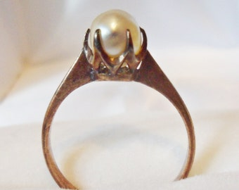 Vintage Sweetheart 14k Rose Gold & Pearl Ring - size 4
