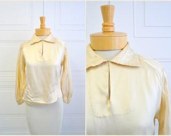 1920s Cream Silk Satin Blouse